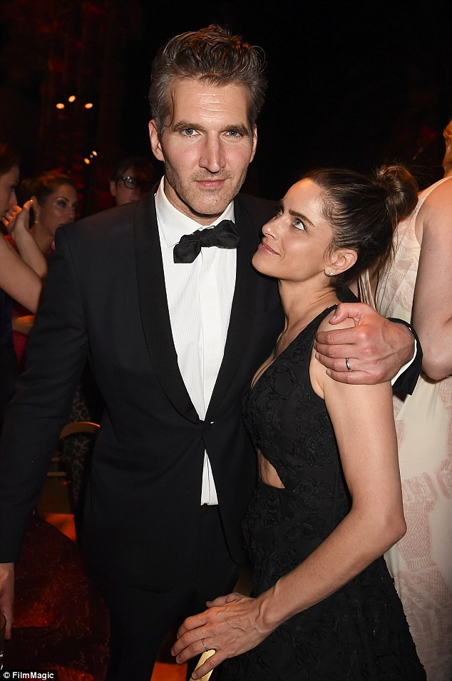 Smitten! Later at the HBO after party, Amanda only had eyes for her man