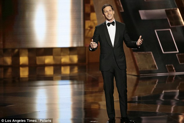 Host: Comedian Andy Samberg (above) opened the 2015 Primetime Emmy Awards on Sunday with a funny monologue and jokes about celebrities from Bill Cosby to Paula Deen.