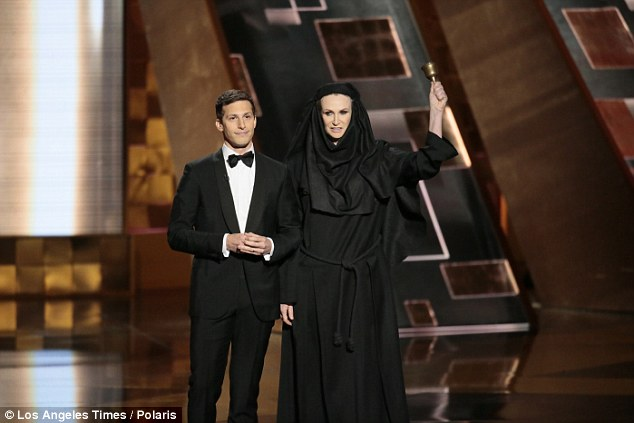 Short speeches only: Samberg was joined on stage by Jane Lynch, who was dressed as the mean nun from 'Game of Thrones.' He joked that if a celeb gave a long speech, they would have to deal with the Lynch