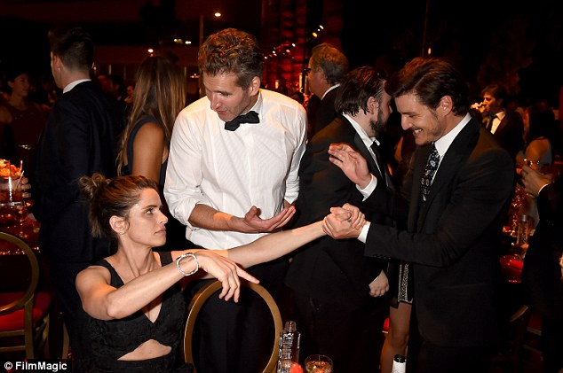 Good friends: Pedro, who appeared as a recurring character in the show's fourth season, seemed pleased to catch up with Benioff and his wife at the afterparty