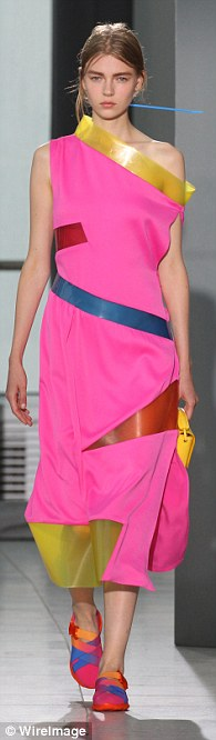 Accessorising: The collection was worn with multi-coloured flats and mini clutch bags