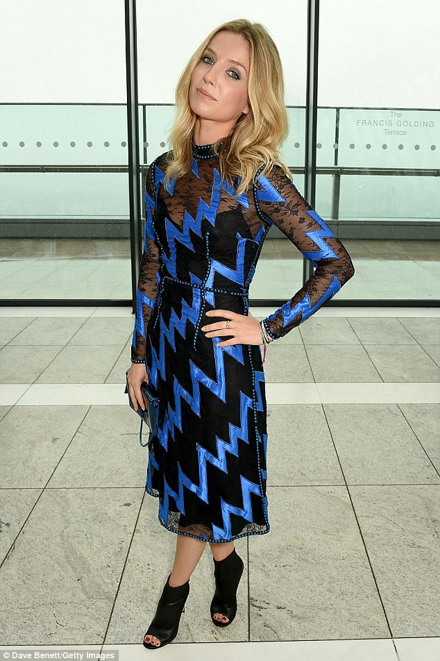 Electric: Actress Annabelle Wallis, 31, turned heads in a chevron-print dress with electric blue accents and open-toed ankle boots