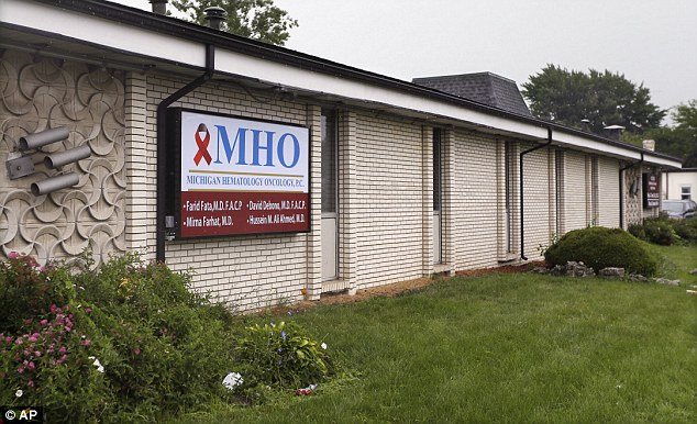 Office: On Friday, Fata, who owned Michigan Hematology Oncology (pictured) in Detroit, Michigan, broke down in court as he was sentenced to more than four decades in prison for a 'huge, horrific series of criminal acts'