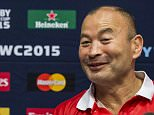 Japan's head coach Eddie Jones (R)  back row and captain Michael Leitch deliver a press conference at the Hilton Hotel in Brighton, on September 21, 2015, during  the 2015 Rugby Union World Cup. Japan will face Scotland on September 23. AFP PHOTO / LIONEL BONAVENTURE RESTRICTED TO EDITORIAL USELIONEL BONAVENTURE/AFP/Getty Images
