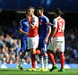 Barclays Premier League.  Chelsea v Arsenal 19/09/15: Picture Kevin Quigley/solo syndication  Gabriel is sent off for kick at Diego Costa