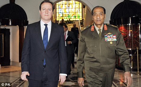 David Cameron with Field Marshall Mohammed Tantawi