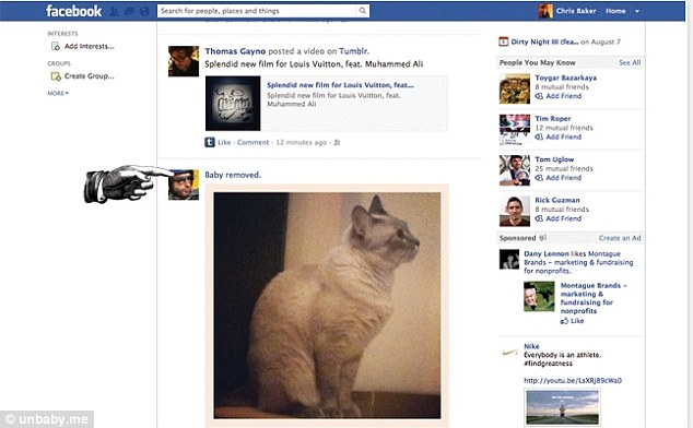 Removed: A supplied Facebook newsfeed example by Unbaby.me shows a cat's picture where a baby's would have been, with a caption above it notifying the user of the baby's removal