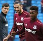 West Ham players pictured ahead of the Barclays Premier League match between Manchester City and West Ham, played at the Etihad Stadium, Manchester