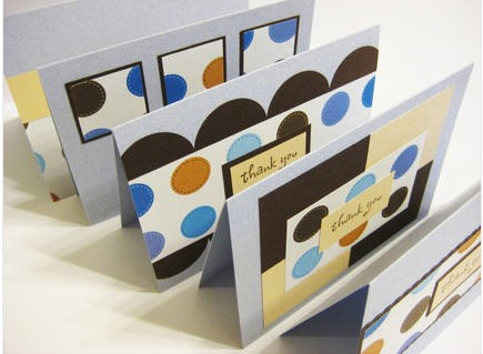 Blue and brown, mod polka dot thank-you cards