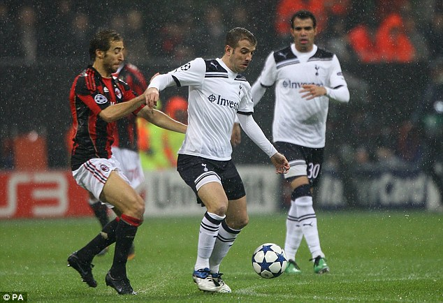 The Italian job: Rafael Van der (right) in action for Spurs against AC Milan last week