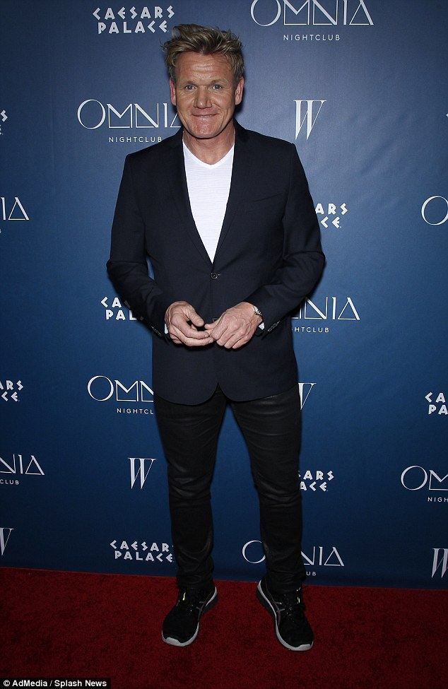 Dapper gent: Another star guest at the club launch, which took place at Caesars Palace, was TV chef Gordon Ramsay