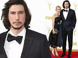 IMAGE DISTRIBUTED FOR THE TELEVISION ACADEMY - Joanne Tucker, left, and Adam Driver arrive at the 67th Primetime Emmy Awards on Sunday, Sept. 20, 2015, at the Microsoft Theater in Los Angeles. (Photo by Danny Moloshok/Invision for the Television Academy/AP Images)