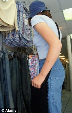 On the rise: The number of girls aged ten to 13 cautioned for shoplifting has increased more than three-fold since 1997