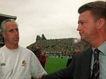 1 September 2001; Republic of Ireland manager Mick McCarthy shakes hands with Holland manager Louis Van Gaal at the end of the game. Republic of Ireland v Holland, World Cup Qualifier, Lansdowne Road, Dublin. Soccer. Picture credit; David Maher / SPORTSFILE