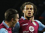 Rudy Gestede celebrates scoring the opening goal during the Capital One Cup match between Aston Villa and Birmingham City played at Villa Park, Birmingham