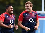 England's Owen Farrell (left), Jamie George (2nd left), Mako Vunipola and Joe Launchbury (right) during a training session at Pennyhill Park, Bagshot. PRESS ASSOCIATION Photo. Picture date: Tuesday September 22, 2015. See PA story RUGBYU England. Photo credit should read: Andrew Matthews/PA Wire. RESTRICTIONS: Editorial use only. Strictly no commercial use or association without RWCL permission. Still image use only. Use implies acceptance of Section 6 of RWC 2015 T&Cs at: http://bit.ly/1MPElTL Call +44 (0)1158 447447 for further info.