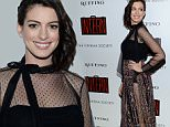 """Actress Anne Hathaway attends a special screening of """"The Intern"""", hosted by The Cinema Society and Ruffino, at the Landmark Sunshine Cinema on Tuesday, Sept. 22, 2015, in New York. (Photo by Evan Agostini/Invision/AP)"""