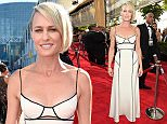 IMAGE DISTRIBUTED FOR THE TELEVISION ACADEMY - Robin Wright arrives at the 67th Primetime Emmy Awards on Sunday, Sept. 20, 2015, at the Microsoft Theater in Los Angeles. (Photo by Charles Sykes/Invision for the Television Academy/AP Images)