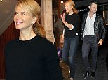 """Hugh Jackman seen leaving the theatre this evening with his mother after watching Nicole Kidman in """"Photograph 51"""".  Pictured: Hugh Jackman Ref: SPL1133670  210915   Picture by: TGB / Splash News  Splash News and Pictures Los Angeles: 310-821-2666 New York: 212-619-2666 London: 870-934-2666 photodesk@splashnews.com"""