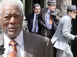 142736, Morgan Freeman, Michael Caine and Alan Arkin rob a bank dressed up as the Rat Pack while on the set of 'Going In Style' filming in Williamsburg, Brooklyn. Brooklyn, New York - Monday September 21, 2015. Photograph: LGjr-RG, � PacificCoastNews. Los Angeles Office: +1 310.822.0419 sales@pacificcoastnews.com FEE MUST BE AGREED PRIOR TO USAGE