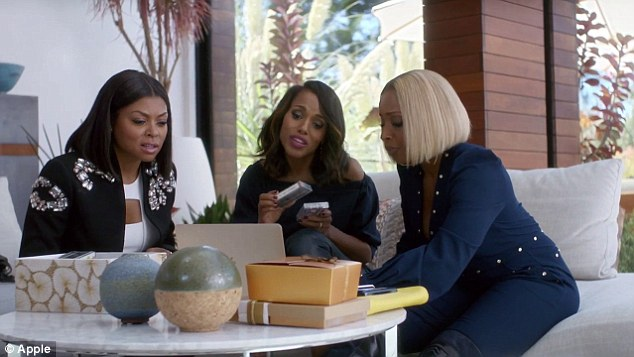 Getting their freak on! The girls sit around with a box of mixtapes, but their attention is quickly diverted to Blige's laptop as she flashes up Apple Music