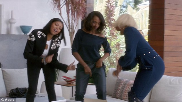 Rocking out: From left, Taraji P. Henson, Kerry Washington and Mary J. Blige dance to some beats in a new ad for Apple Music, which aired for the first time on Sunday night midway through the Emmys