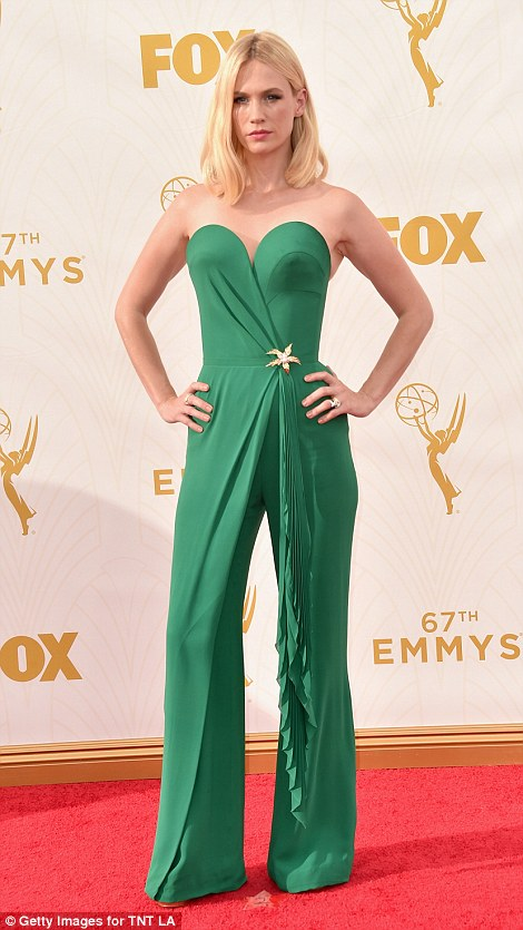 January Jones' jumpsuits with strangely placed waterfall detailing and leaf brooch didn't exactly make the other guests green with envy
