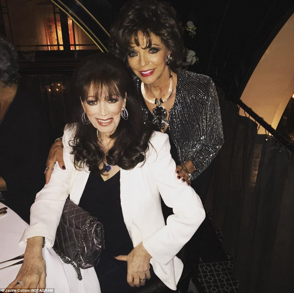 Saying goodbye: Jackie Collins, who died Saturday at 77, with sister Joan, 82, in London a week ago. Both sisters shared this 'last' photo of themselves together via social media