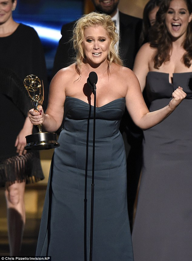 Tears: Amy Schumer looked genuinely moved when her show Inside Amy Schumer landed her first ever Emmy on Sunday night