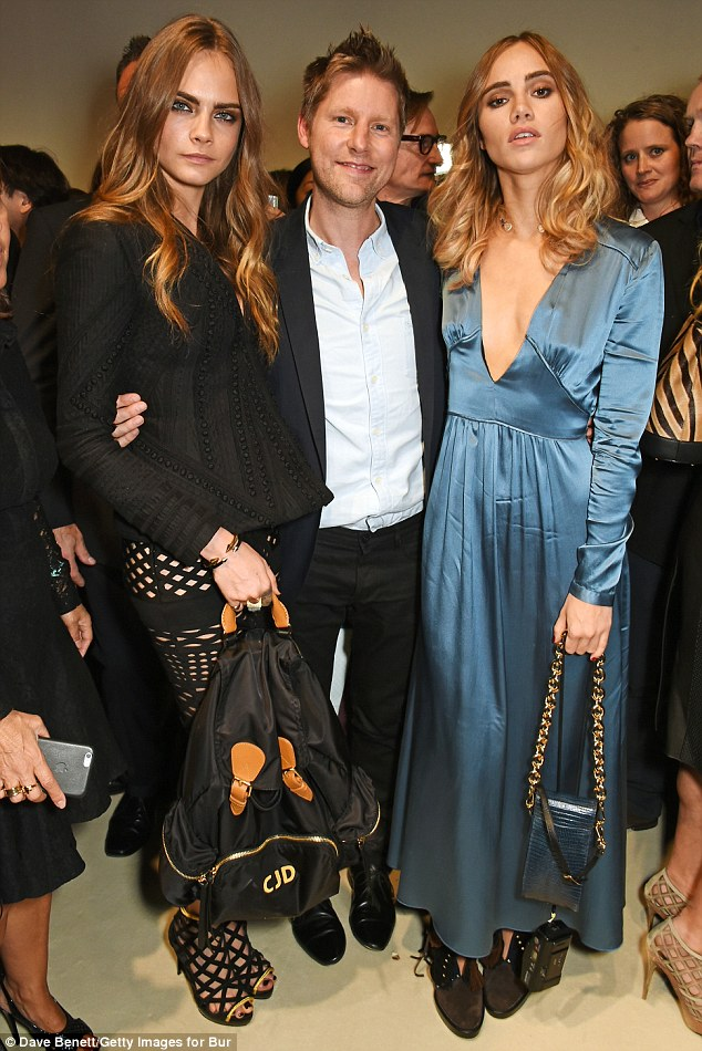 The man of the moment: Following watching the catwalk show and mingling with the likes of Burberry supremo Christopher Bailey, Sukie headed to her luxury hotel for a quiet moment or two