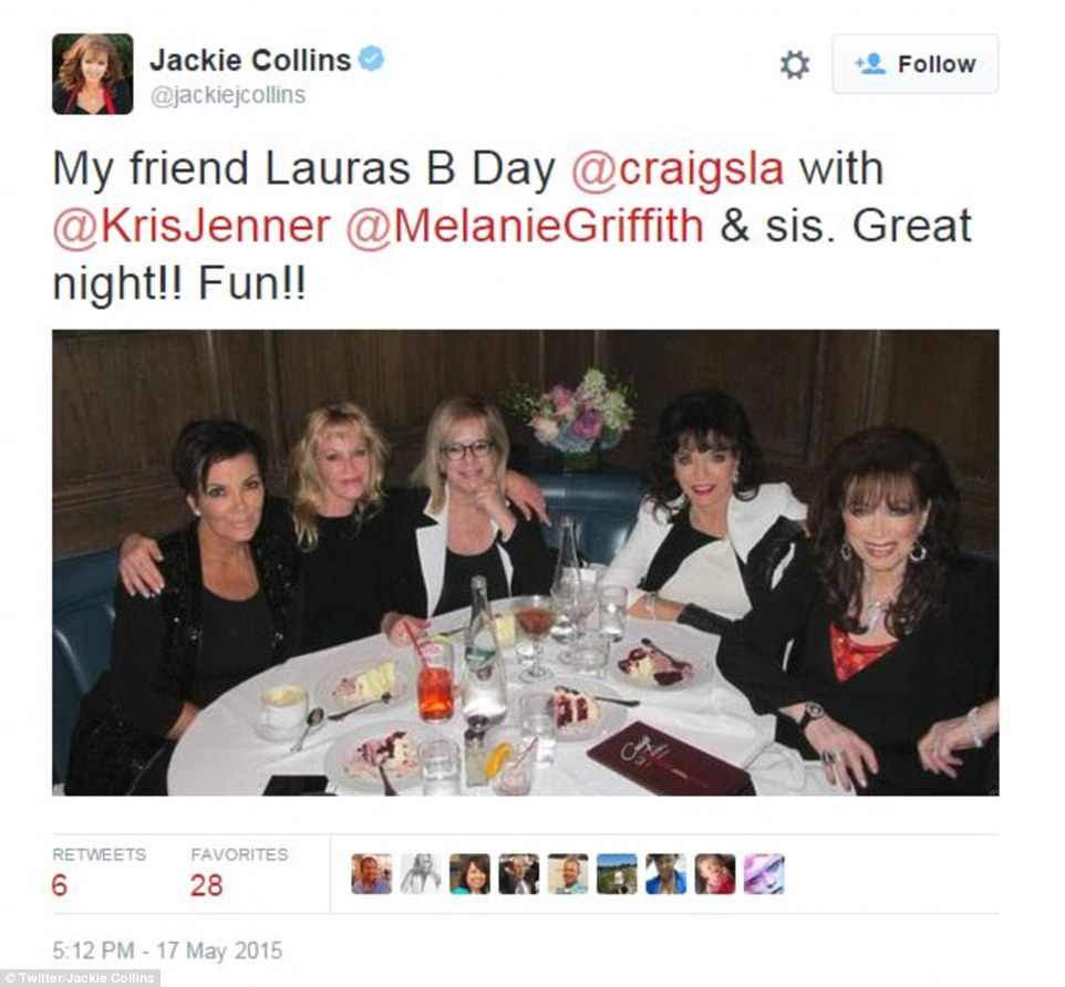 Collins was never one to turn down an invite and was seen eating dinner with the likes of Kris Jenner earlier this year