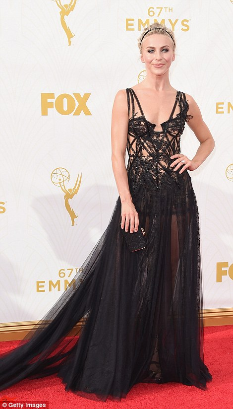 One for Halloween? Julianne Hough's sheer black dress, which left little to the imagination, seemed better suited to a fancy dress party come October 31