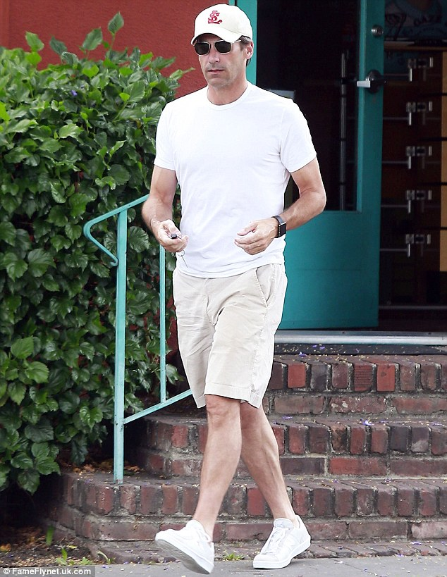 Cream of the crop: Emmy winner Jon Hamm wore an off-white ensemble as he stepped out in Los Angeles on Monday