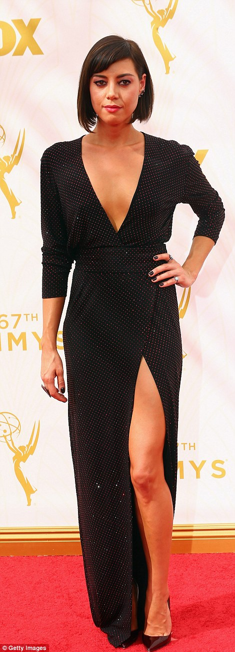 Leggy: Former Parks And Recreation beauty Aubrey Plaza wowed in a sparkling thigh-split dress