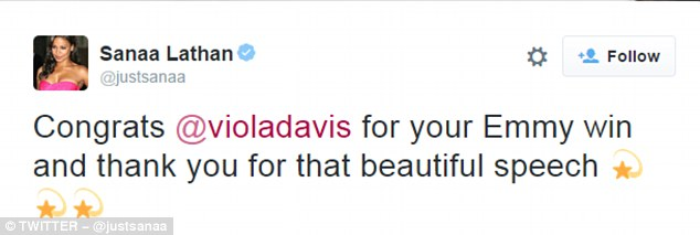 Actress Sanaa Lathan wrote Davis the above tweet congratulating her on the Emmy win