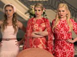 """SCREAM QUEENS: Pictured L-R: Billie Lourd as Chanel #3, Emma Roberts as Chanel Oberlin and Abigail Breslin as Chanel #5 in """"Pilot,"""" the first part of the special, two-hour series premiere of SCREAM QUEENS airing Tuesday, Sept. 22 (8:00-10:00 PM ET/PT) on FOX. �2015 Fox Broadcasting Co. Cr: Steve Dietl/FOX."""