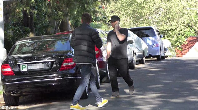 Furious: The actor approached a photographer as he filmed in the street before taking photographs of his licence plate