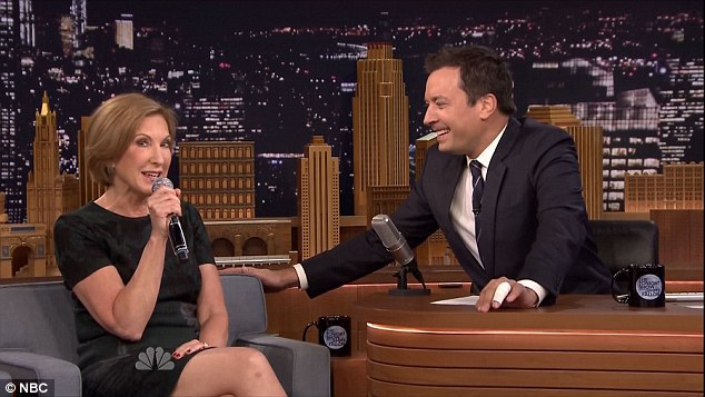 Sing-a-long: Carly Fiorina appeared on The Tonight Show Starring Jimmy Fallon on Monday night and closed out her interview by singing a song about her 'lazy' dog, Snickers