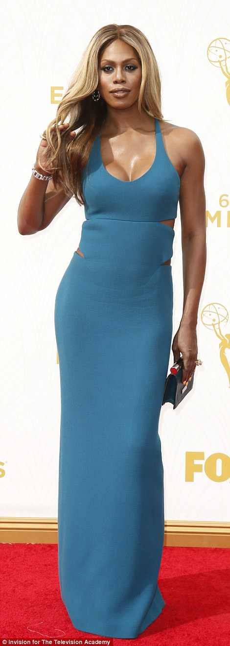Beauty in blue: Laverne wowed in a cut-out detail dress and her glossy blonde looking lovely