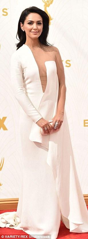 Emmy angels:Nazanin Boniadi, Louise Roe andJackie Cruz opted for pale shades