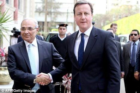 Egyptian Prime Minister Ahmed Shafik  with Mr Cameron in Cairo