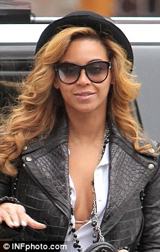 All change: Beyonce's previous hair colour earlier this month