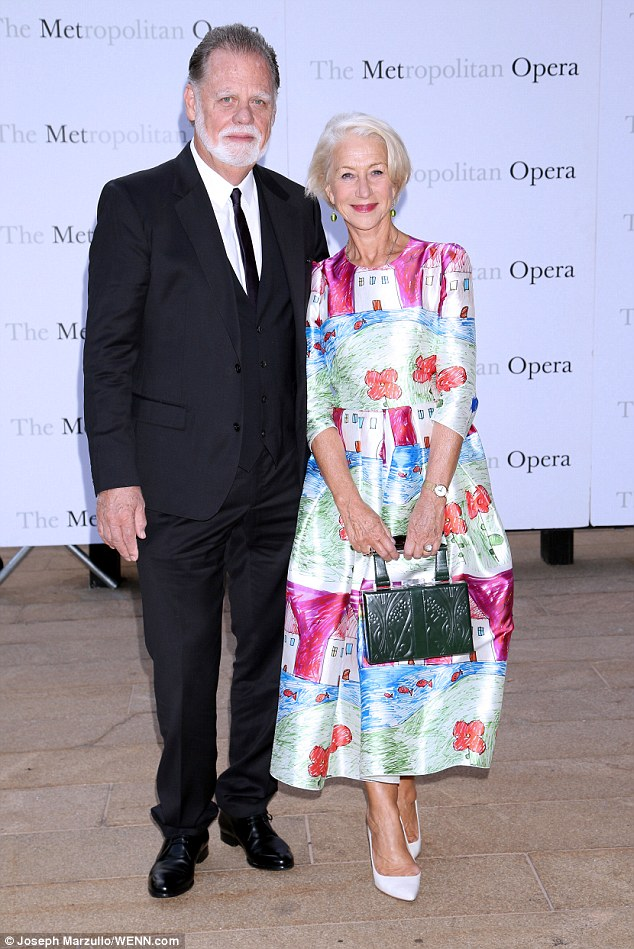 Not solo: The British beauuty was joined by her doting husband Taylor Hackford at the event