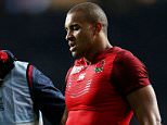 File photo dated 18-09-2015 of England's Jonathan Joseph receives treatment during the opening Rugby World Cup match at Twickenham Stadium, London. PRESS ASSOCIATION Photo. Issue date: Tuesday September 22, 2015. England centre Jonathan Joseph has a chest injury and is a doubt for England's Rugby World Cup match against Wales on Saturday. England backs coach Andy Farrell says a decision on his fitness will be made tomorrow. See PA story RUGBYU England. Photo credit should read David Davies/PA Wire.