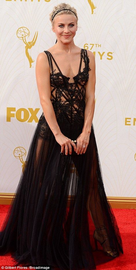 Ventilation: Julianne Hough found a way to beat the heat. She wore a barely there black Marchesa gown with a lacy cut-out bodice and full-length sheer skirt