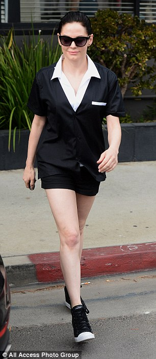 Putting in the leg work:Rose McGowan kept up with appearances on Monday as she ran errands around Beverly Hills