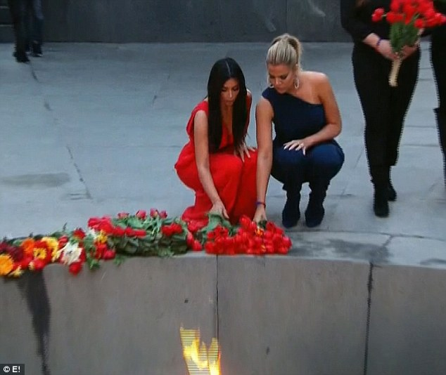 Genocide memorial: Kim and Khloe laid flowers at an Armenian Genocide Memorial in Armenia