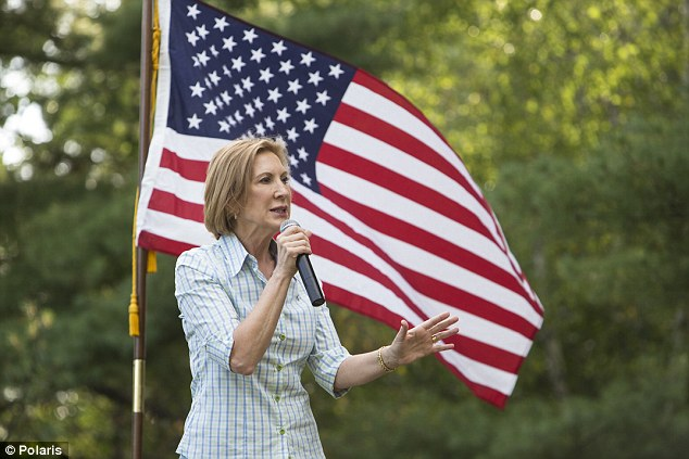 Carly Fiorina campaigning during BBQ and Beer Bash with Strafford County GOP in Dover, New Hampshire, earlier this month
