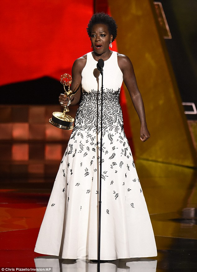 Historical win: Viola Davis made history by becoming the first African-American woman to win the Emmy for Outstanding Lead Actress in a drama