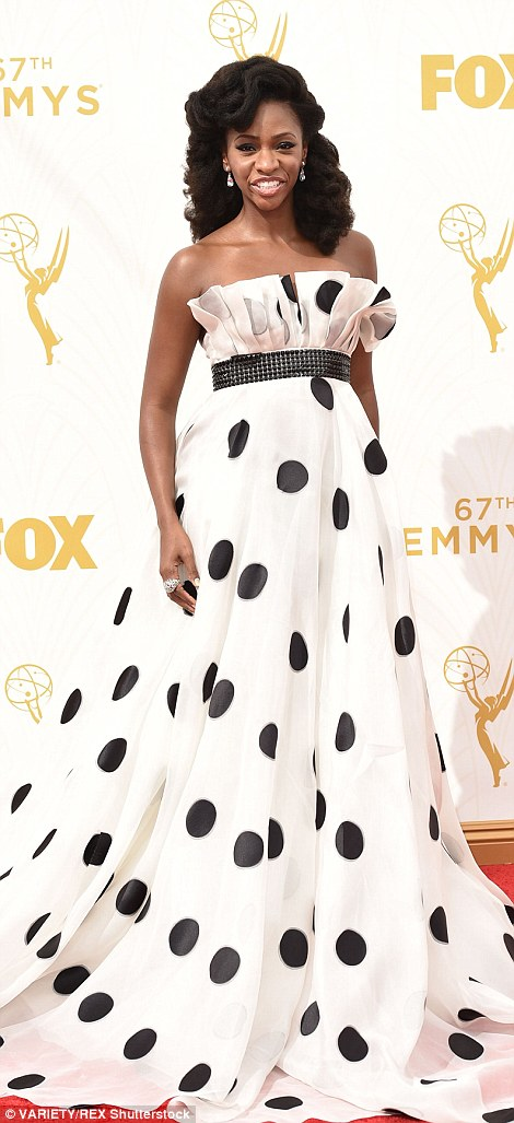 ActressTeyonah Parris turned heads in a polka dot ball gown